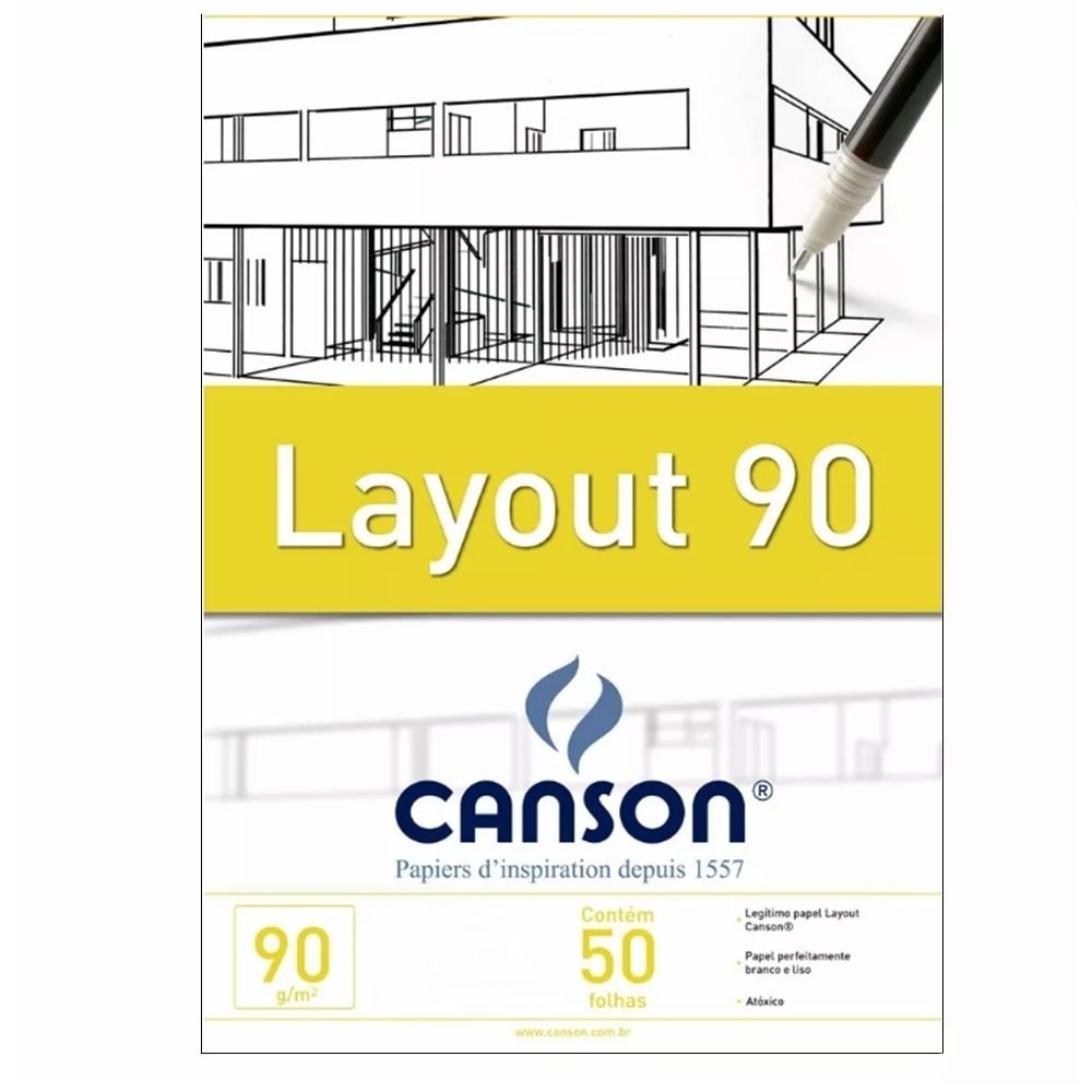 Bloco Canson Layout 90gm Branco - A3