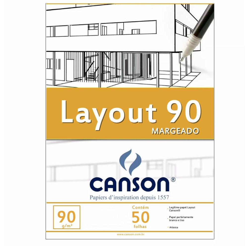 Bloco Canson Layout 90gm Branco - A3+