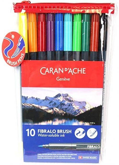 Kit Brush Pen Caran D'Ache 10 cores