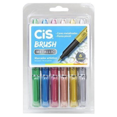 Kit Brush Pen Cis - Metallic C/ 6 cores
