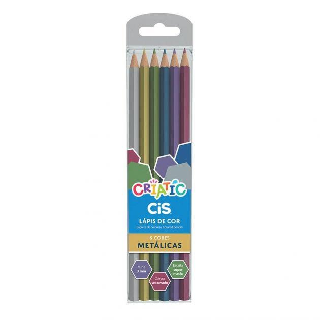 Lápis de cor Criatic 6 Cores Metálicas