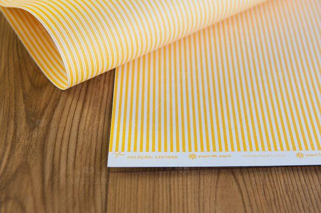 Papel Scrap Listra Amarelo