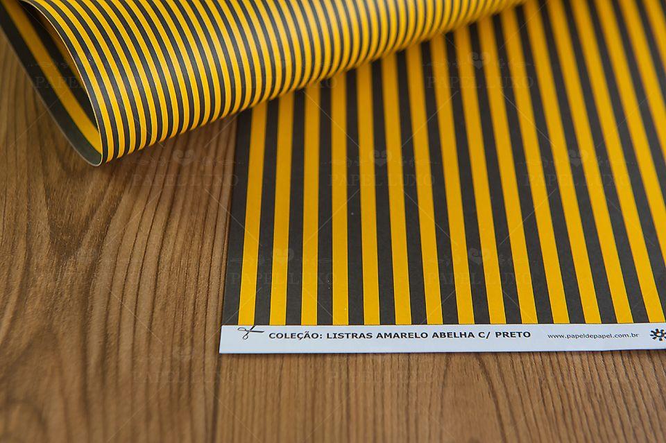 Papel Scrap Listra Amarelo abelha com preto