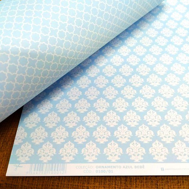 Papel Scrap Ornamento Azul Bebê