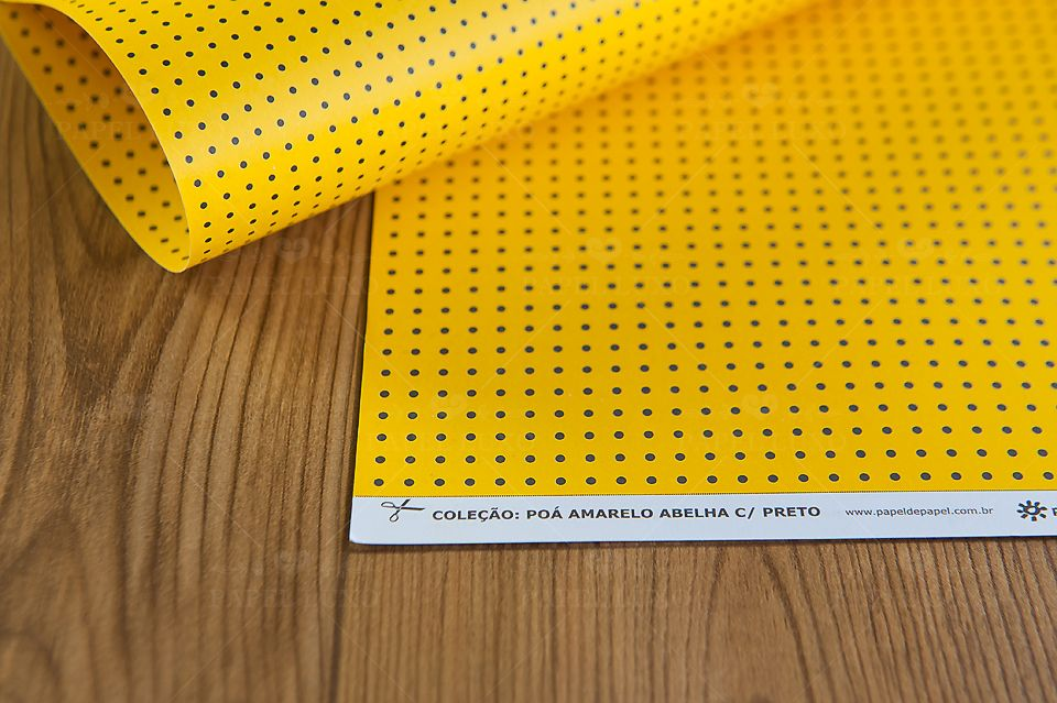 Papel Scrap Poá Amarelo Abelha