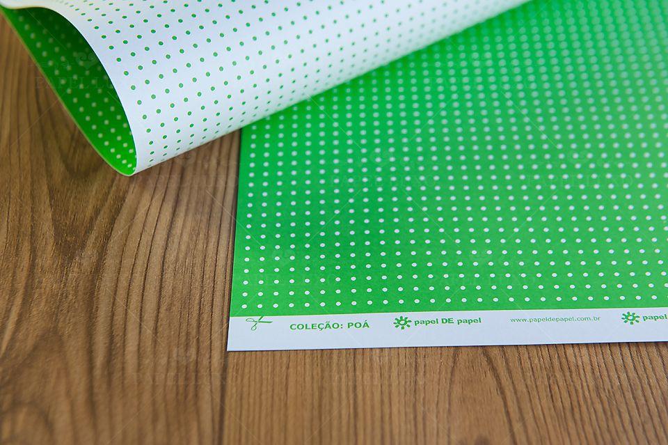 Papel Scrap Poá Verde Claro